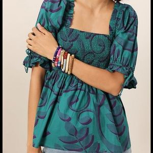 Anthropologie green pattern blouse NWT